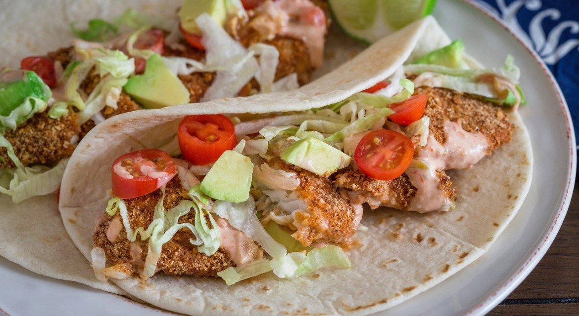 Healthy Mexican Inspired Fish Tacos with Low Fat Spicy Tarter Sauce